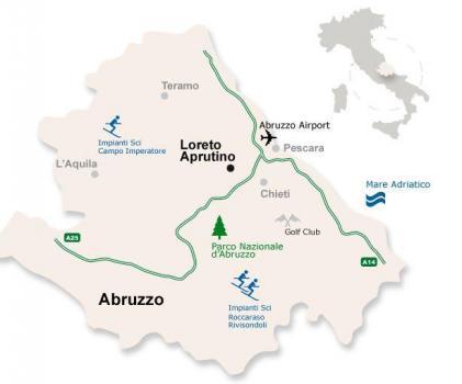 Лорето Апрутино на карте региона Абруццо