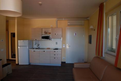 Зал с оборудованной кухней